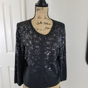 WHBM cropped beaded cardigan sz L